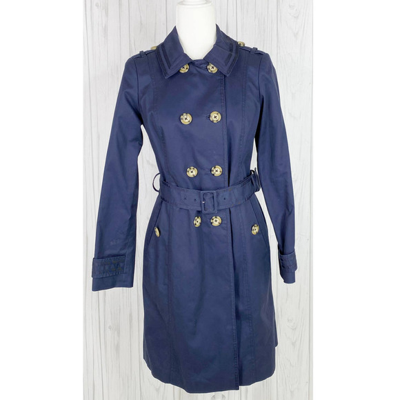 Boden Navy Trench Coat 6R Double Breasted Long